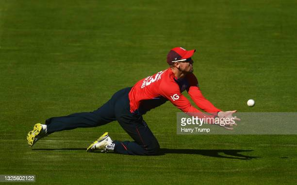 Liam Livingstone of England dives in vain for a catch during the T20 International Series Third T20I match between England and Sri Lanka at the Ageas...