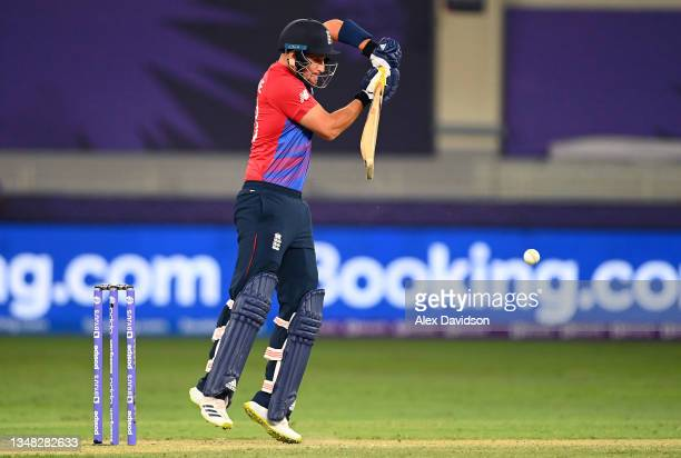 Liam Livingstone of England in action during the ICC Men's T20 World Cup match between England and Windies at Dubai International Stadium on October...