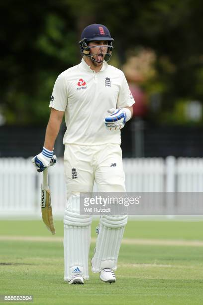 Liam Livingstone of England leaves the field after being caught by Jake Doran of the Cricket Australia XI during the Two Day tour match between the...