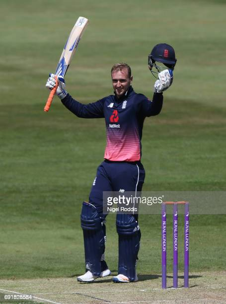 Liam Livingstone of England Lions celebrates his century during the One Day International match between England Lions and SouthAfrica A at The County...