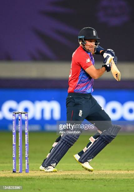 Liam Livingstone of England plays a shot during the ICC Men's T20 World Cup match between England and Windies at Dubai International Stadium on...