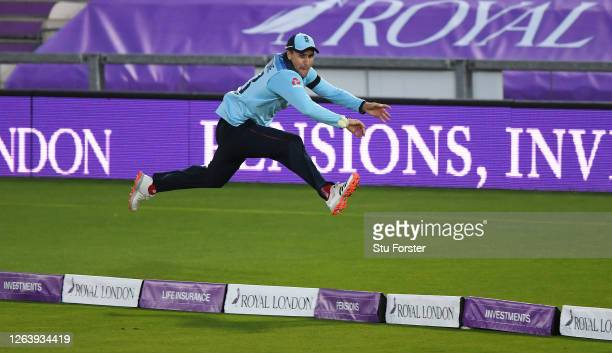 Liam Livingstone of England stops a boundary during the Third One Day International between England and Ireland in the Royal London Series at Ageas...