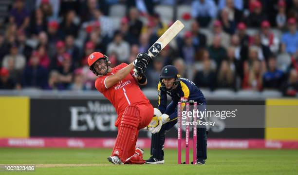 20th July 2018 Emirates Old Trafford Manchester England Vitality Blast T20 Cricket Lancashire Lightning versus Yorkshire Vikings Joe Root and Kane...