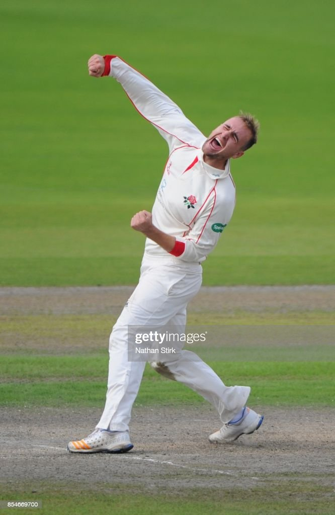 Liam Livingstone of Lancashire celebrates after getting 5 wickets during the County Championship Division One match between Lancashire and Surrey at Old Trafford on September 27, 2017 in Manchester, England.