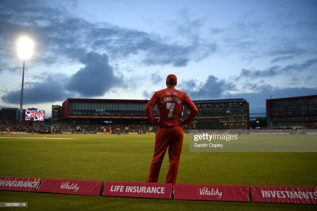 Liam Livingstone of Lancashire fields on the boundary during the Vitality Blast match between Lancashire Lighting and Yorkshire Vikings at Old Trafford on July 20, 2018 in Manchester, England.