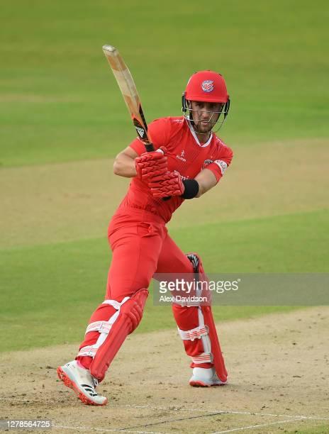Liam Livingstone of Lancashire Lightning hits runs during the Vitality T20 Blast Semi Final between Notts Outlaws and Lancashire Lightning at...