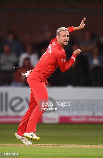 Liam Livingstone of Lancashire Lightning in bowling action during the Vitality T20 Blast Quarter Final match between Somerset CCC and Lancashire...
