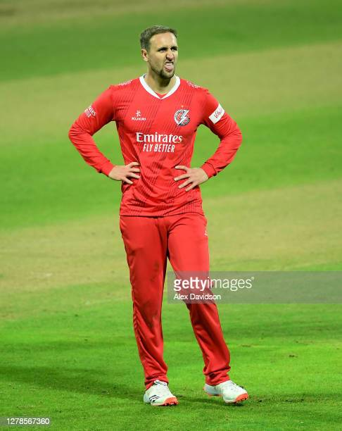 Liam Livingstone of Lancashire reacts during the Vitality T20 Blast Semi Final between Notts Outlaws and Lancashire Lightning at Edgbaston on October...