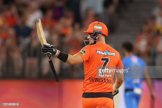 Liam Livingstone of the Scorchers celebrates his half century during the Big Bash League match between the Perth Scorchers and the Adelaide Strikers...