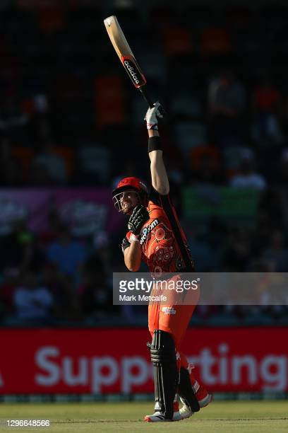 Liam Livingstone of the Scorchers hits a boundary during the Big Bash League match between the Sydney Sixers and the Perth Scorchers at Manuka Oval,...