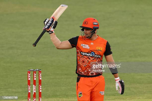 Liam Livingstoneof the Scorchers celebrates his half century during the Big Bash League match between the Perth Scorchers and the Hobart Hurricanes...
