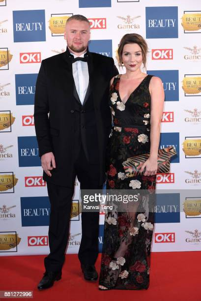 Liam Macaulay and Candice Brown attend The Beauty Awards at Tower of London on November 28 2017 in London England