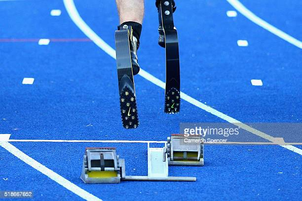 Liam Malone of New Zealand competes in the mens 100m ambulant final during the Australian Athletics Championships at Sydney Olympic Park on April 2...