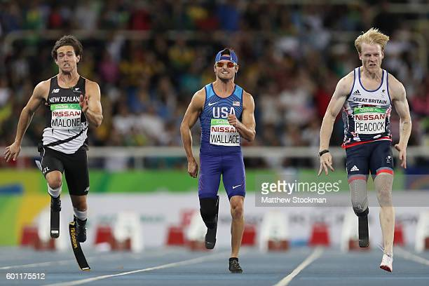 Liam Malone of New Zealand Jarryd Wallace of the United States and Jonnie Peacock of Great Britain compete in the men's 100 meter T44 final on day 2...