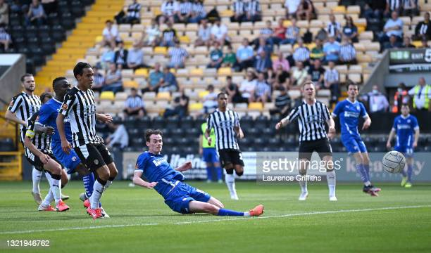 Liam Mandevilleof Chesterfield scores their team's second goal during the Vanarama National League Play Off match between Notts County and...