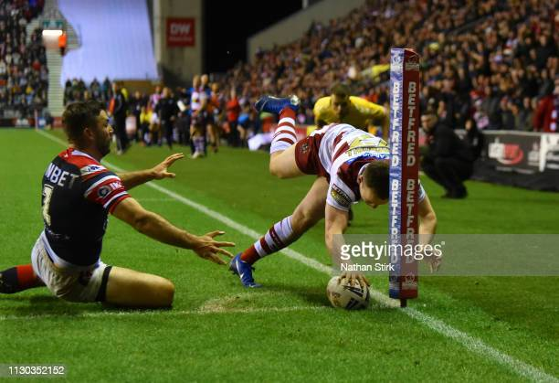 Liam Marshall of Wigan Warriors touches down to score their second try during the World Club Challenge match between Wigan Warriors and Sydney...