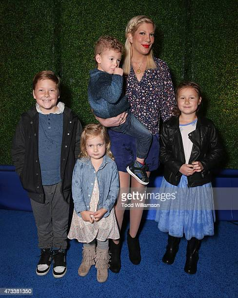 Liam McDermott Hattie McDermott Finn McDermott Tori Spelling and Stella McDermott and attend the launch Of Knott's Berry Farm's new ride Voyage To...