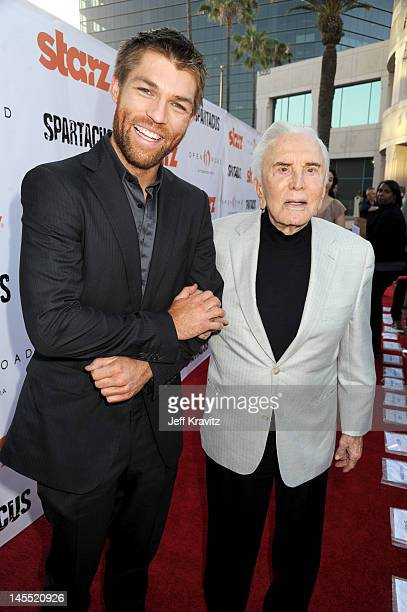 Liam McIntyre and Kirk Douglas attend the Starz celebration of Kirk Douglas and the impact of Spartacus at Leonard H Goldenson Theatre on May 31 2012...