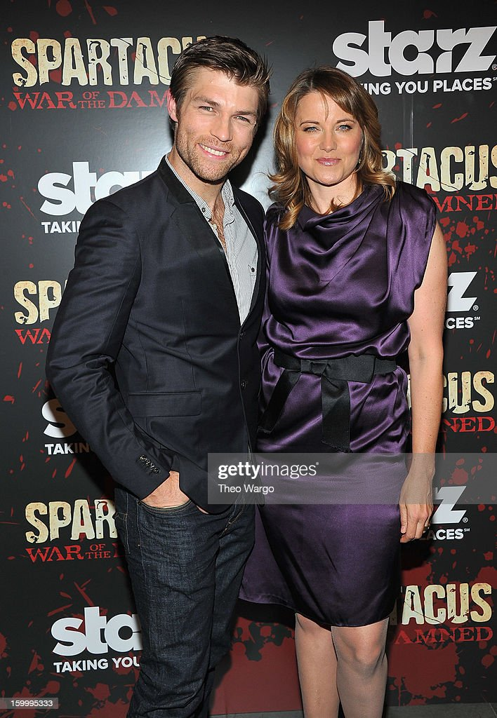 Liam McIntyre and Lucy Lawless attend 'Spartacus: War Of The Damned' Series Finale Premiere at MOMA on January 24, 2013 in New York City.