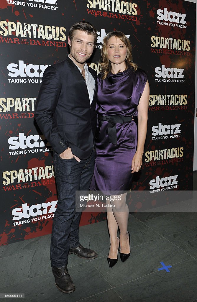 Liam Mcintyre and Lucy Lawless attend the 'Spartacus: War Of The Damned' series finale premiere at The Museum of Modern Art on January 24, 2013 in New York City.