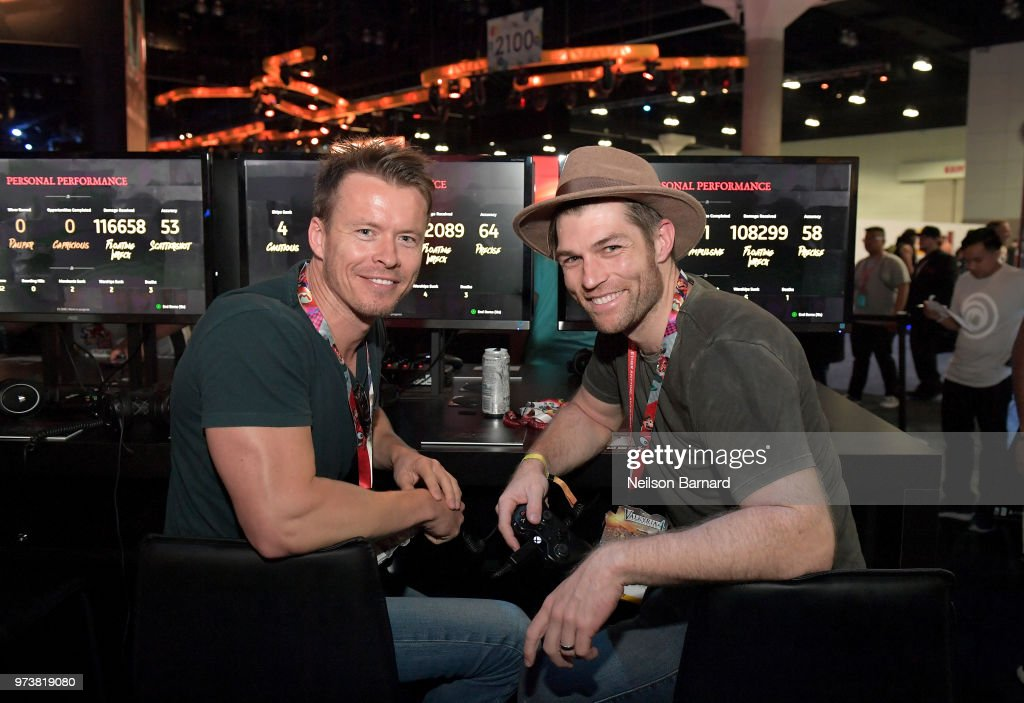 Liam McIntyre (L) and Todd Lasance playing Skull & Bones during E3 2018 at Los Angeles Convention Center on June 13, 2018 in Los Angeles, California.