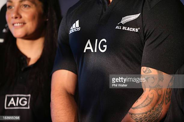 Liam Messam models the new All Black jersey during a NZRU and AIG sponsorship announcement at Viaduct Events Centre on October 12 2012 in Auckland...
