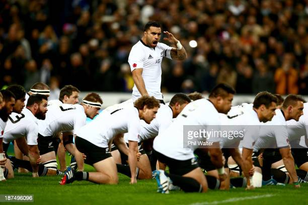 Liam Messam of the All Blacks leads the haka during the international test match between France and the New Zealand All Blacks at Stade de France on...