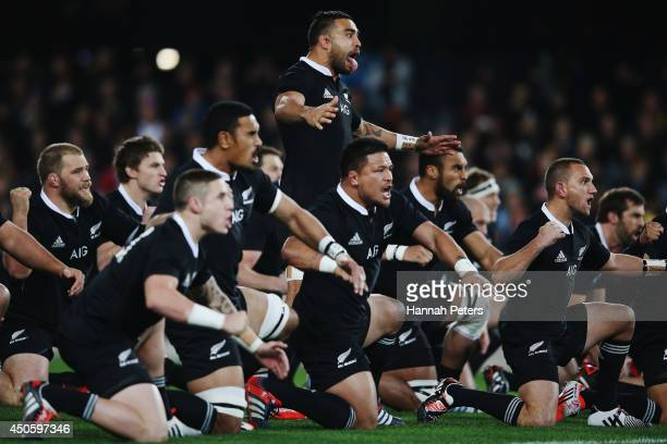 Liam Messam of the All Blacks leads the haka prior to the International Test Match between the New Zealand All Blacks and England at Forsyth Barr...