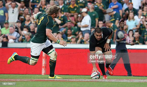 Liam Messam of the All Blacks scores his second try during the Rugby Championship match between South Africa Springboks and the New Zealand All...