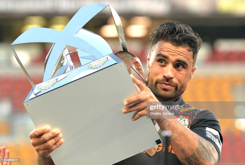 Liam Messam of the Chiefs holds the winners trophy after the Rugby Global Tens Final match between the Crusaders and Chiefs at Suncorp Stadium on February 12, 2017 in Brisbane, Australia.