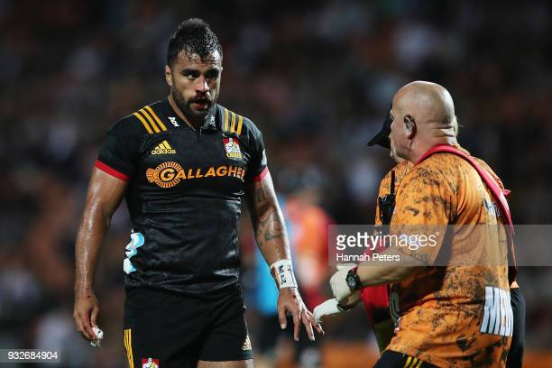 Liam Messam of the Chiefs is seen by medical staff during the round five Super Rugby match between the Chiefs and the Bulls at Waikato Stadium on...
