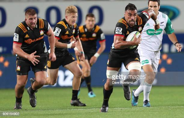 Liam Messam of the Chiefs makes a run during the round two Super Rugby match between the Blues and the Chiefs at Eden Park on March 2 2018 in...