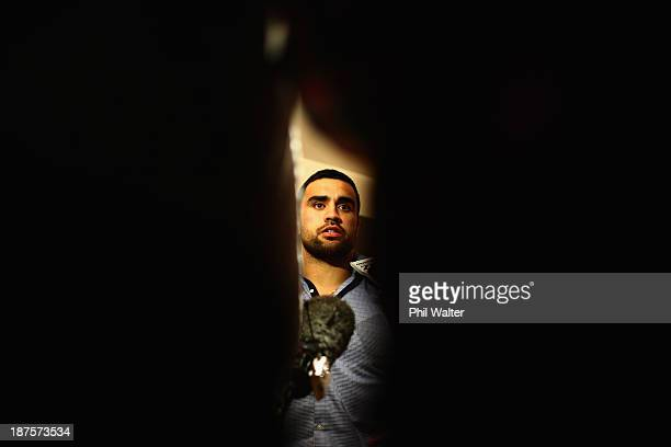 Liam Messam of the New Zealand All Blacks speaks to media upon arrival at the Royal Garden Hotel on November 10 2013 in London England