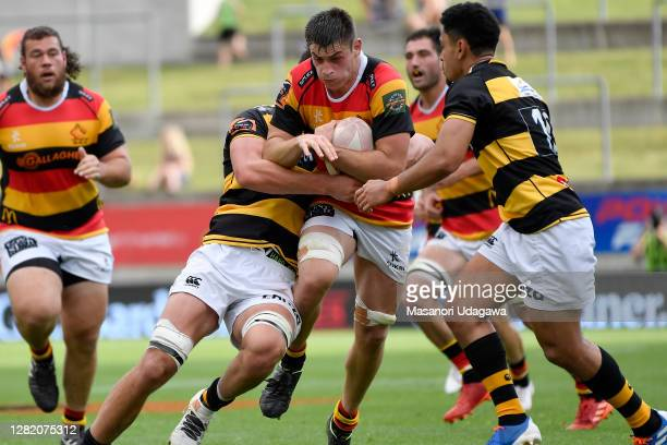 Liam Messam of Waikato is tackled during the round 7 Mitre 10 Cup match between Waikato and Taranaki at FMG Stadium on October 25 2020 in Hamilton...