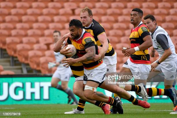 Liam Messam of Waikato scores a try during the round 7 Mitre 10 Cup match between Waikato and Taranaki at FMG Stadium on October 25 2020 in Hamilton...