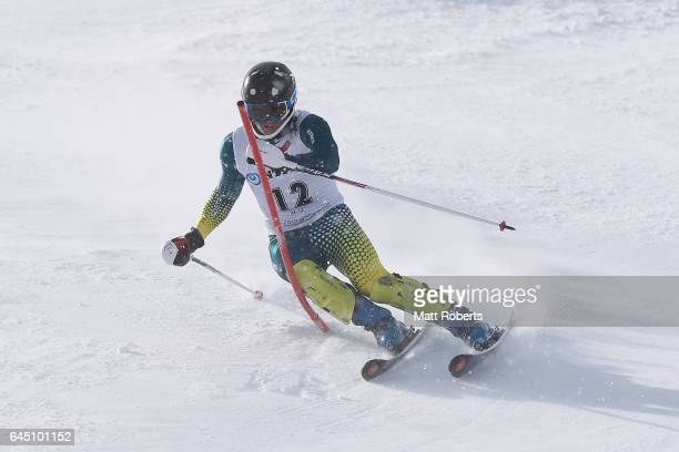 Liam Michael of Australia competes in men's slalom alpine skiing on the day eight of the 2017 Sapporo Asian Winter Games at Sapporo Teine on February...