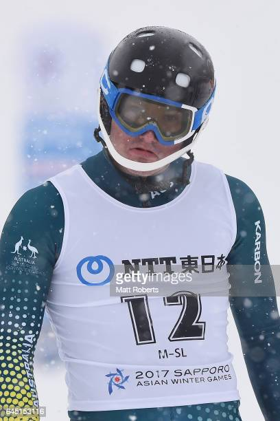 Liam Michael of Australia looks dejected after the men's slalom alpine skiing on the day eight of the 2017 Sapporo Asian Winter Games at Sapporo...
