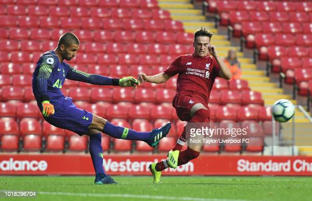 Liam Millar of Liverpool and Alfie Whiteman of Tottenham Hotspur in action during the Liverpool v Tottenham Hotspur PL2 game at Anfield on August 17...