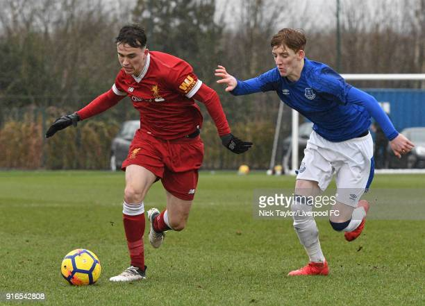 Liam Millar of Liverpool and Anthony Gordon of Everton in action during the Everton v Liverpool U18 Premier League game at USM Finch Farm on February...