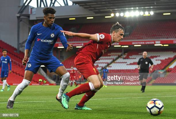 Liam Millar of Liverpool and Dujon Sterling of Chelsea in action during the Premier League 2 match between Liverpool and Chelsea at Anfield on May 8...