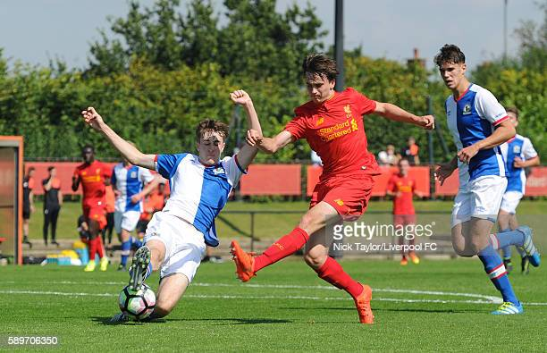 Liam Millar of Liverpool and Frank Jones of Blackburn Rovers in action during the Liverpool v Blackburn U18 game at the Kirkby Academy on August 15...