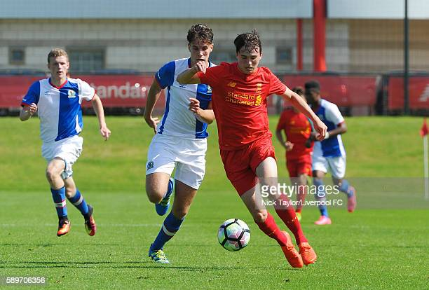 Liam Millar of Liverpool and Matthew Makinson of Blackburn Rovers in action during the Liverpool v Blackburn U18 game at the Kirkby Academy on August...