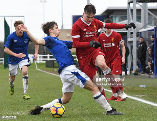 Liam Millar of Liverpool and Nathan Moore of Everton in action during the Everton v Liverpool U18 Premier League game at USM Finch Farm on February...