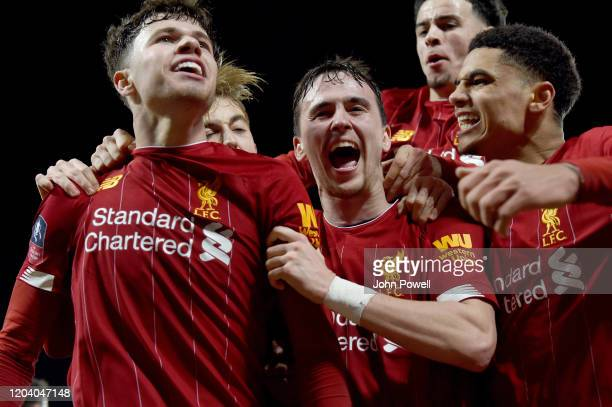 Liam Millar of Liverpool and Neco Williams of Liverpool with KiJana Hoever of Liverpool celebrates after the opening goal during the FA Cup Fourth...