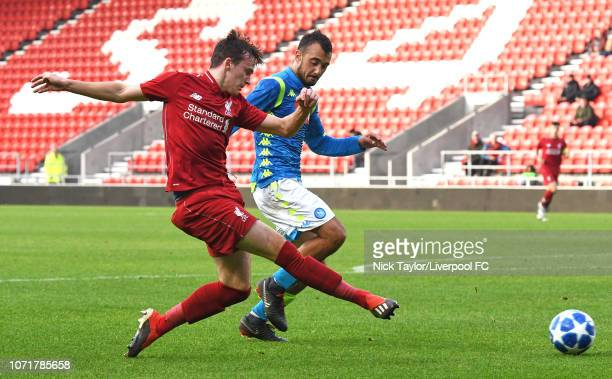 Liam Millar of Liverpool and Niccolo Bartiromo of SSC Napoli in action during the UEFA Youth League match between Liverpool and SSC Napoli at...