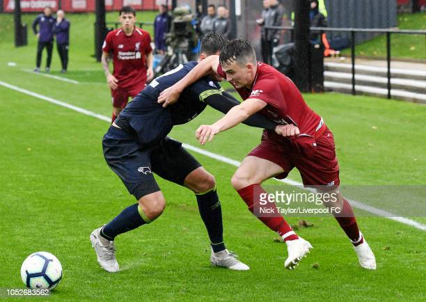 Liam Millar of Liverpool and Sven Karic of Derby County in action during the PL2 game at The Kirkby Academy on October 21 2018 in Kirkby England