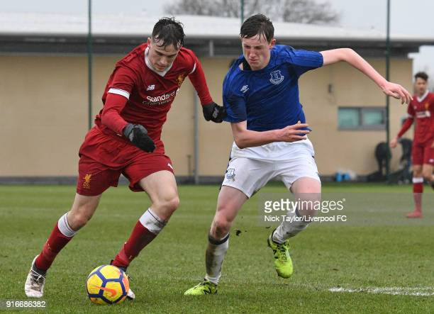 Liam Millar of Liverpool and Tom Warren of Everton in action during the Everton v Liverpool U18 Premier League game at USM Finch Farm on February 10...