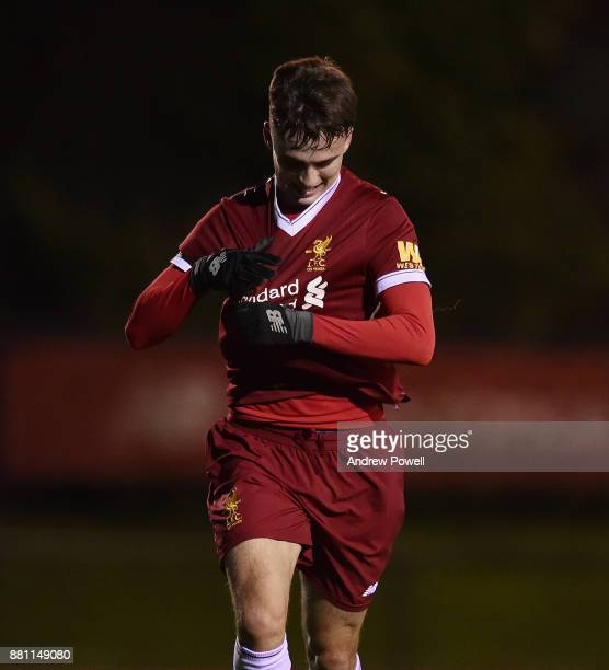 Liam Millar of Liverpool celebrates after scoring the opening goal during the U18 Premier League match between Liverpool U18 and Manchester City U18...