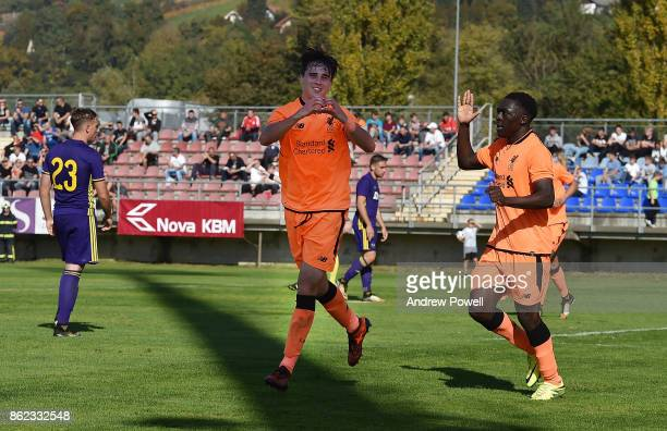 Liam Millar of Liverpool celebrates after scoring the third goal during the UEFA Youth League group E match between NK Maribor and Liverpool FC on...