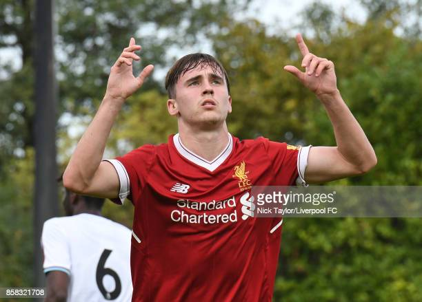 Liam Millar of Liverpool celebrates his goal during the U18 friendly match between Liverpool and Burnley at The Kirkby Academy on October 6 2017 in...